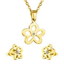 Necklace Earrings Jewellery-Jewelry-Set Flower Stainless-Steel LUXUKISSKIDS Pendant Crystal