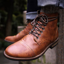Men Motorcycle Boots Lace Up Ankle Leather Boots For Man Fashion Male Round Toe Boots Cool Guys Teens Martin Booties botas D20 mycolen new 2018 high top martin boots luxury fashion fashion leather men boots ankle motorcycle boots for male men shoe