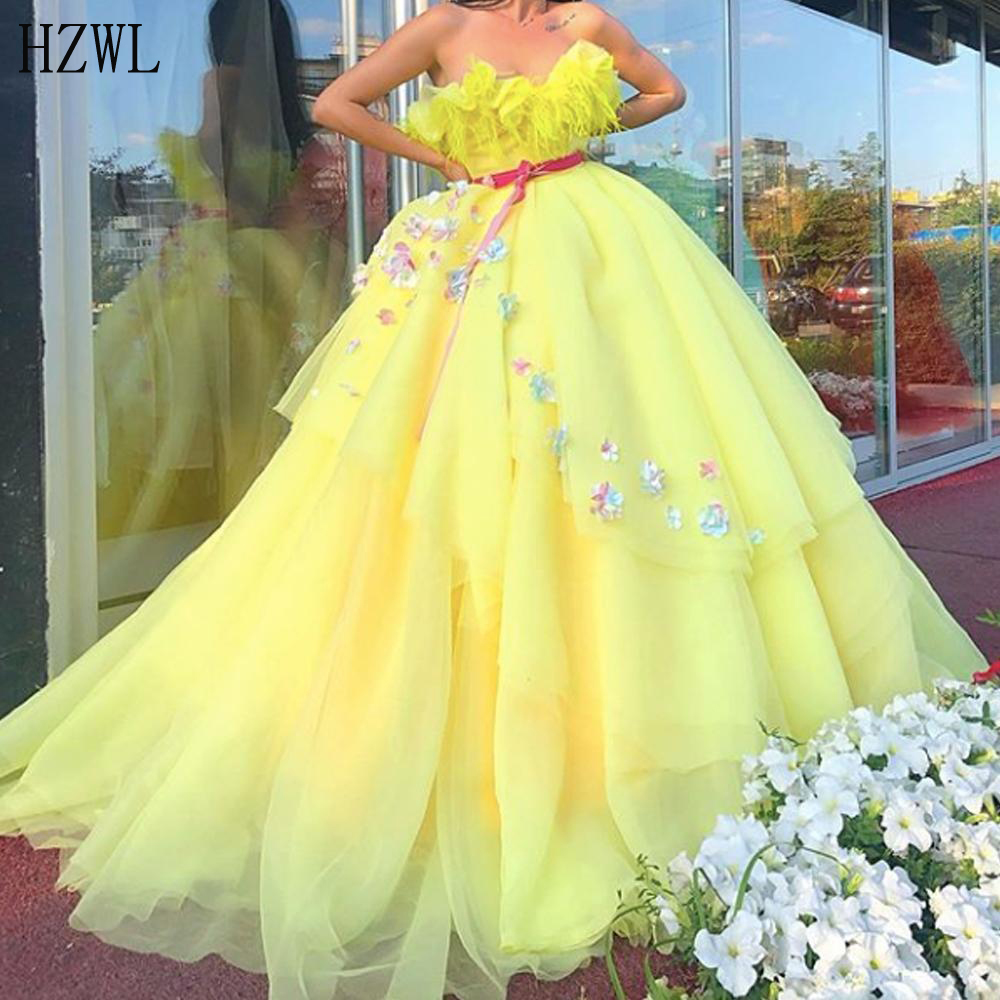 Tiered Yellow Ball Gown Prom Dresses 2020 Sweetheart Feather 3D Flowers Puffy Evening Dresss Robe De Soiree Custom Made