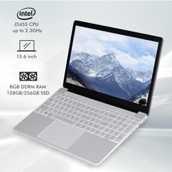 Computador portátil de windows 10 do núcleo do quadrilátero de intel j3455 com porto rj45 para o escritório caderno do estudante 15.6 Polegada 6gb ram 128gb 256gb ssd