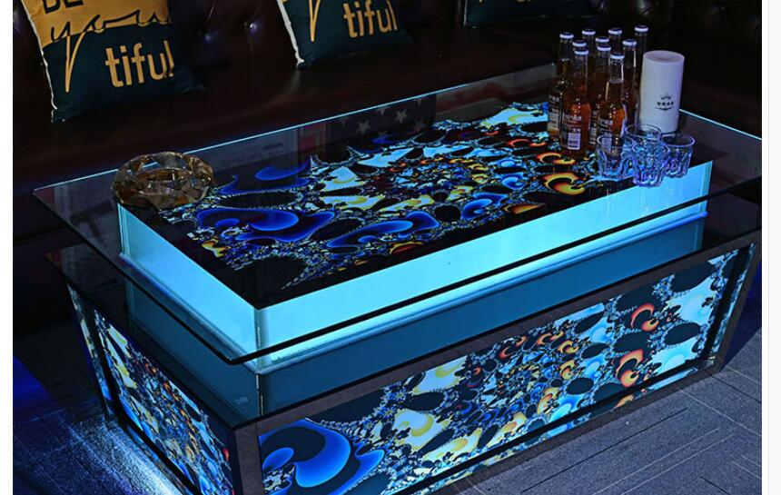 High grade luminous tempered glass stainless steel artistic style spot KTV tea table Club box quantity layout table 1