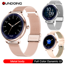 RUNDOING NY12 אופנתי נשים smart watch עגול מסך smartwatch עבור ילדה קצב לב צג תואם עבור אנדרואיד ו ios
