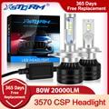Светодиодные фары H7 LED Canbus H1 H3 H4 H8 H11 9005 HB3 9006 HB4, светодиодсветодиодный лампы для фар 80 Вт лм, автомобильные фары Mini Turbo светодиодный H7 H4, автомо...