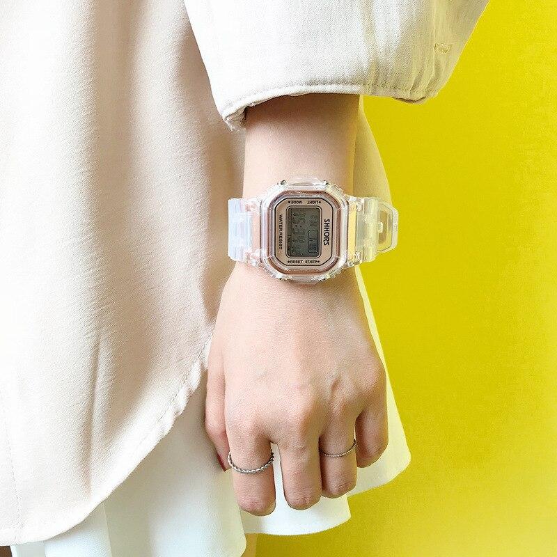 Image 3 - Fashion Men Women Watches Gold Casual Transparent Digital Sport Watch Lover's Gift Clock Waterproof Children Kid's Wristwatch-in Women's Watches from Watches