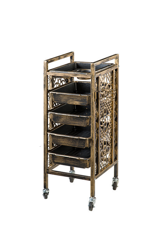 Retro Beauty Salon Hair Cart  Salon Barber Shop Hot Dyeing Tool Trolley Locker Rack