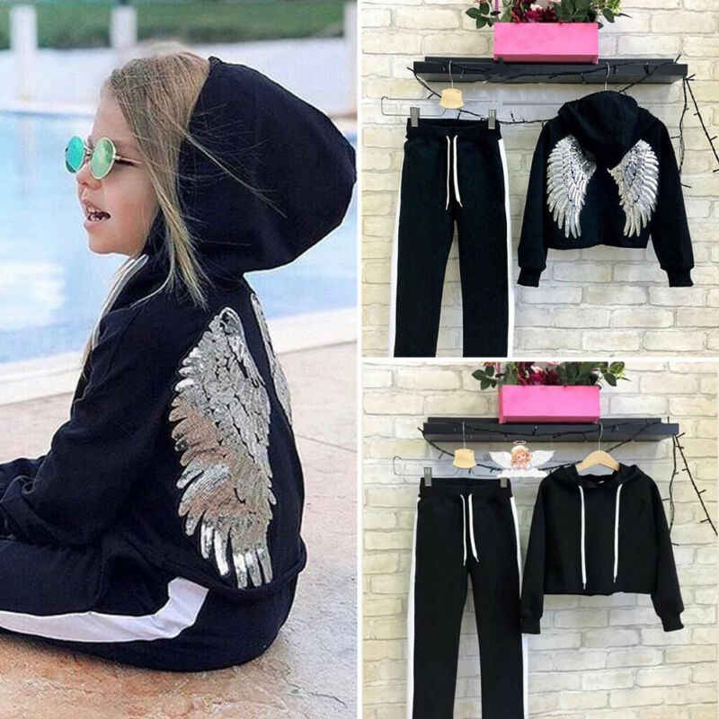 2019 Toddler Baby Girl Winter Clothes Sets Wings Sequined Hooded Tops+Long Pants Outfit Tracksuit