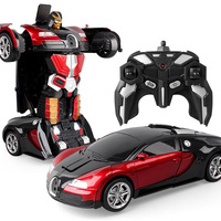 1:14 Mini Deformation Car Models Plastic Automatic Transformation Robots Toys With Lights Kids Children Christmas Gift