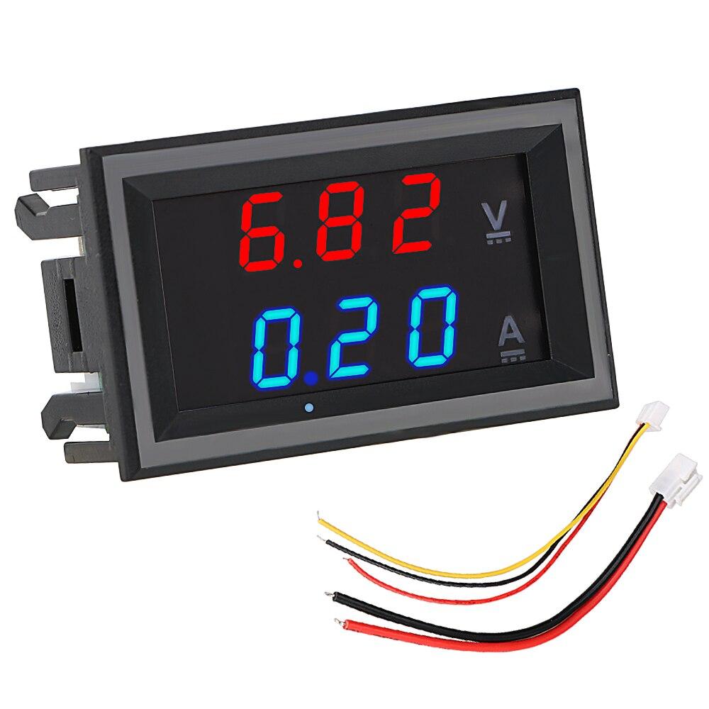 Volt Ampere Meter Amperemeter Voltage Indicator Tester DC 100V 10A With Cable Mini Digital Voltmeter Ammeter LED Display