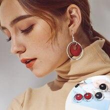 Модные красные деревянные круглые серьги с подвеской для девушек