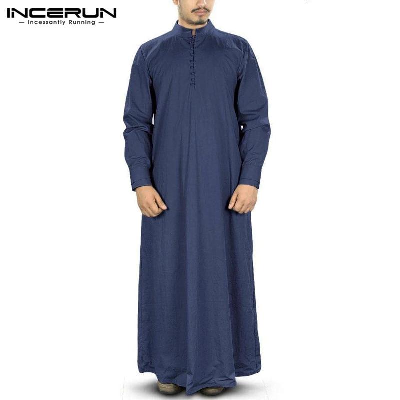 Mega Discount 6e4a3c Muslim Men Jubba Thobe Solid Long Sleeve Vintage Stand Collar Islamic Arabic Kaftan Middle East Robes Dubai Abaya Incerun S 5xl Cicig Co