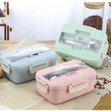 Microwave Lunch Box Wheat Straw Dinnerware Food Storage Container LunchBox Children Kids School Office Portable BentoBox 1100ml microwave lunch box wheat straw dinnerware food storage container children school office portable bento box kitchen tools