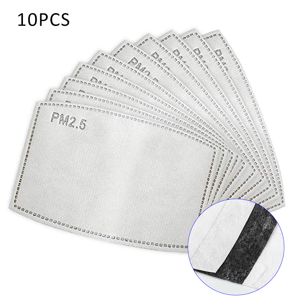 10Pcs/Lot 5 Layers PM2.5 Masks Activated Carbon Filter Insert Protective Filter Media Insert For Mouth Mask Anti Dust Mask