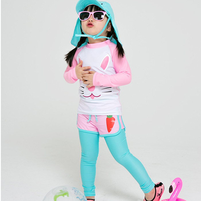 2018 South Korea Children Diving Suit Cartoon Image Trousers Long Sleeve Swimsuit Sunscreen GIRL'S Snorkeling Jellyfish Clothing
