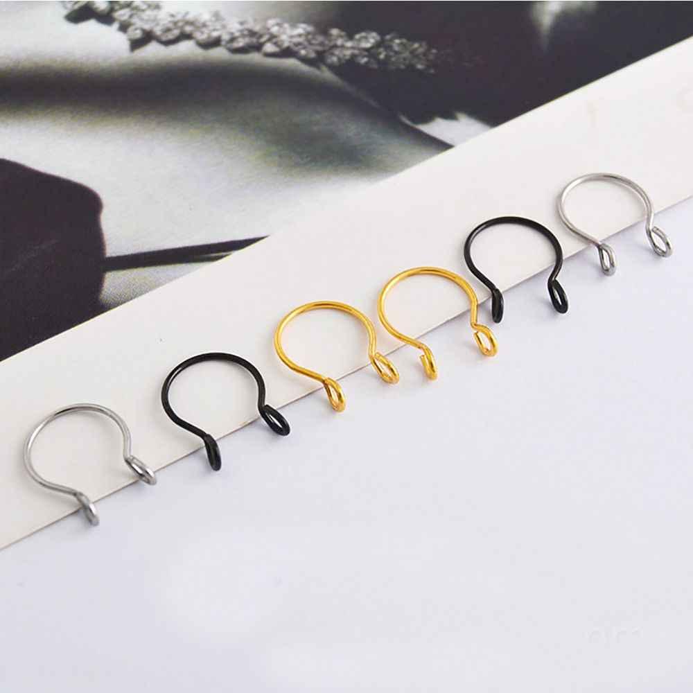 Tytanowa stal chirurgiczna fałszywy bez przekłuwania uszu kolczyk w nosie dla Unisex Body JewelryU kształt Hoop pierścienie nosowe bez przekłuwania uszu fałszywe przegrody