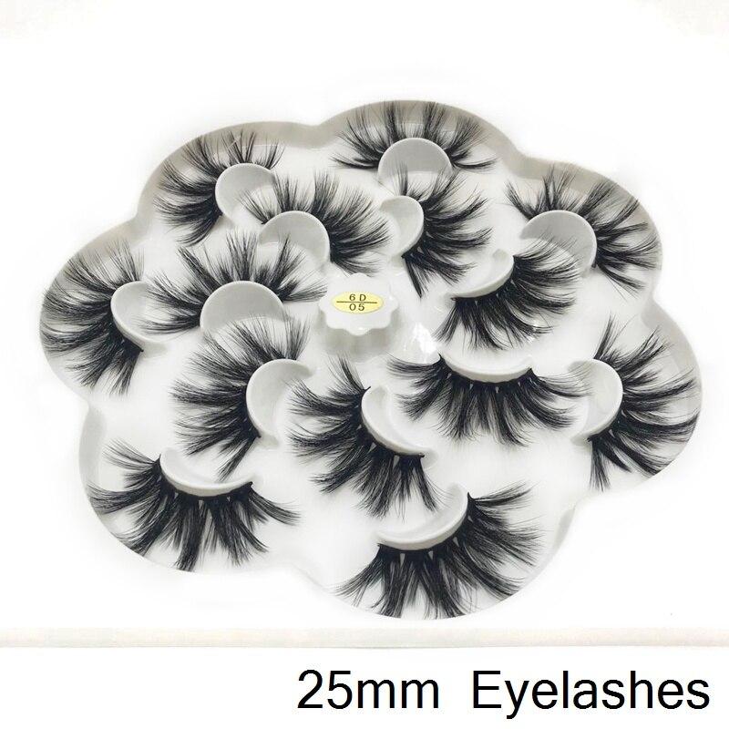 100% maquiagem long 25mm lashes 3D Mink Eyelashes Natural Makeup False Lashes Criss-cross Wispies Fluffy Eyelashes Extension