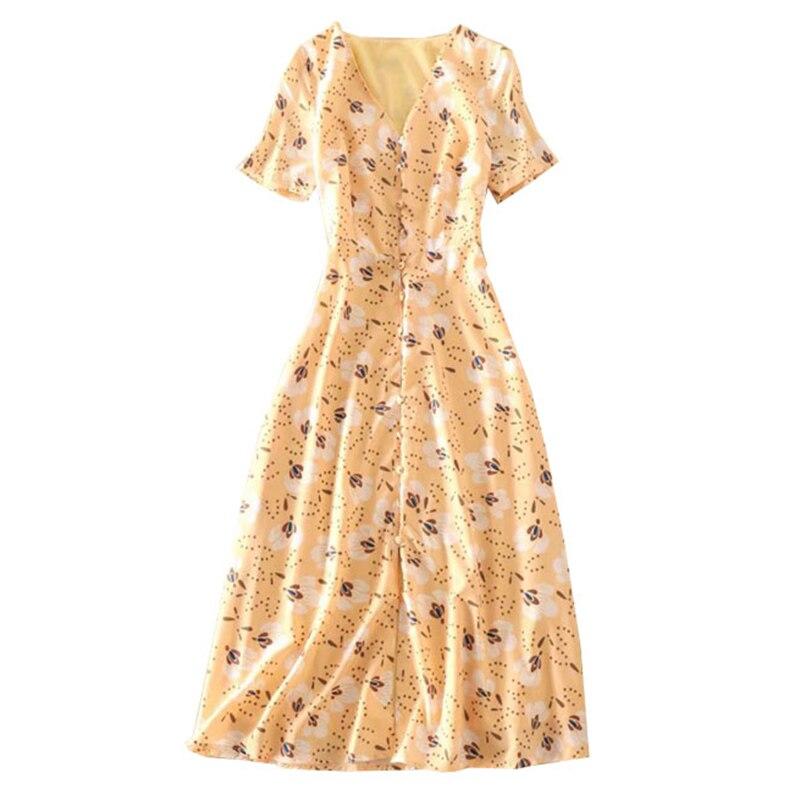 Kadın Giyim'ten Elbiseler'de Yaz kadın plaj elbise sarı çiçek baskı v boyun kısa kollu orta buzağı uzunluğu tek göğüslü düğme elbise şık kadın giyim'da  Grup 1