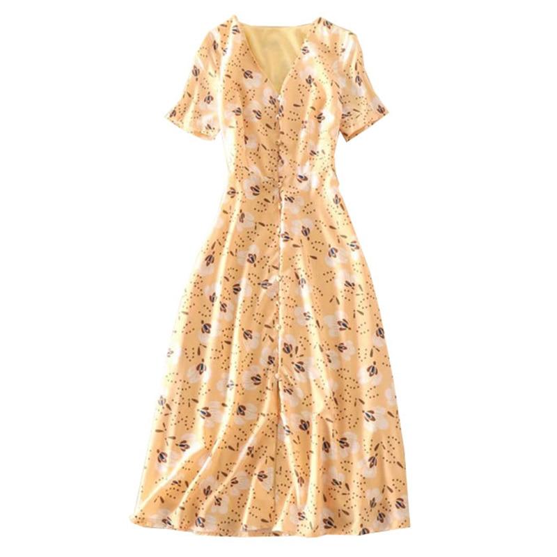 여름 여자 비치 드레스 노란색 꽃 인쇄 v 목 짧은 소매 중반 송아지 길이 싱글 버튼 드레스 세련된 여자 옷-에서드레스부터 여성 의류 의  그룹 1