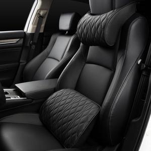 Image 1 - Almohada de espuma viscoelástica para reposacabezas de coche, juegos de soportes de asiento bordados de cuero, ajuste de cojín trasero, almohadas lumbares de descanso del cuello automático