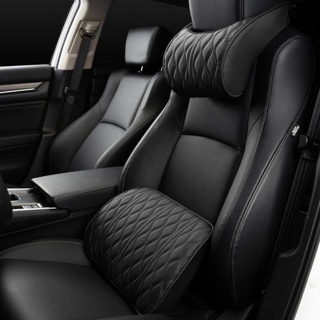 Almohada de espuma viscoelástica para reposacabezas de coche, juegos de soportes de asiento bordados de cuero, ajuste de cojín trasero, almohadas lumbares de descanso del cuello automático