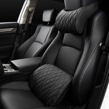 Speicher Schaum Auto Kopfstütze Kissen Leder Bestickt Sitz Unterstützt Sets Zurück Kissen Einstellung Auto Kopfstütze Lenden Kissen