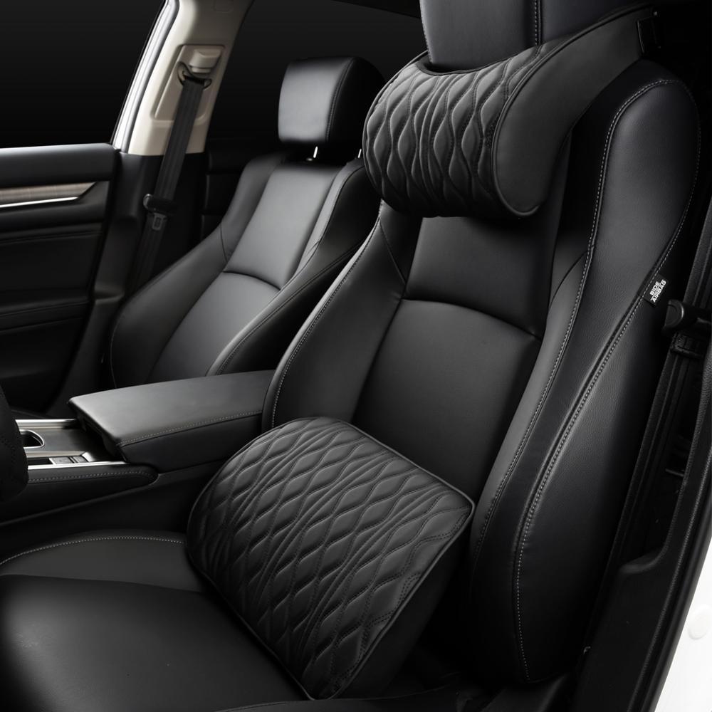 Supports de siège brodés en cuir d'oreiller d'appui-tête de voiture de mousse de mémoire place l'ajustement de coussin arrière