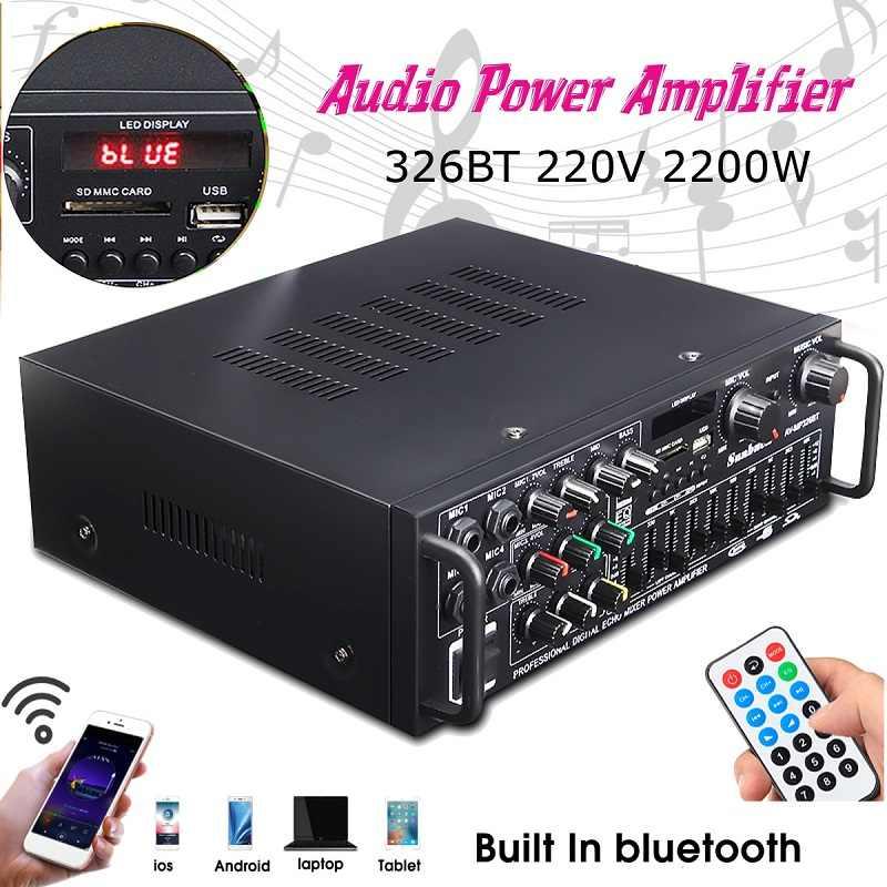 Bluetooth 2.0 チャンネル 2000 ワットオーディオハイパワーハイファイアンプボード 326BT 12 V/220 V AV アンプリモートを車のホーム