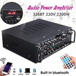 Bluetooth 2.0 Canali 2000W di Potenza Audio Hifi Amplificatore 326BT 12 V/220 V Av Amp Altoparlante con Telecomando di Controllo per La Casa Auto