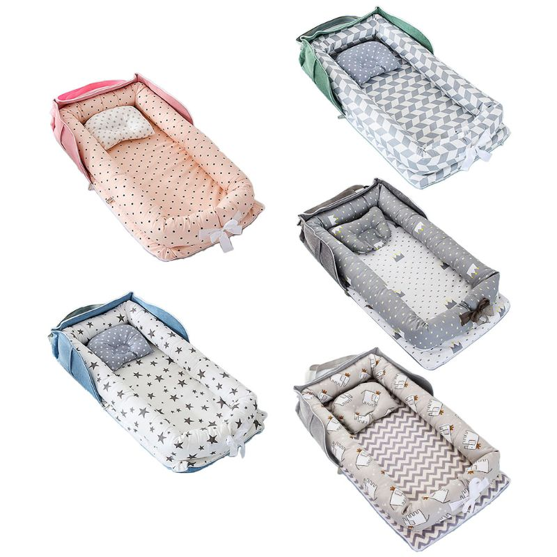 Portable Newborn Baby Sleep Nest Bed Crib Infant Soft Cotton Breathable Lounger