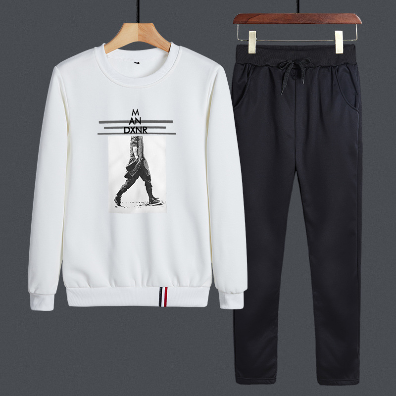 Autumn & Winter New Style Men Sports Leisure Suit Men's Trend Korean-style Handsome Crew Neck Hoodie Suit Two-Piece Set