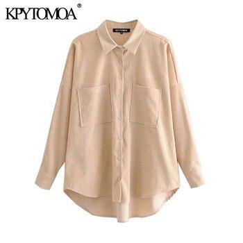 KPYTOMOA Women 2020 Fashion Pockets Oversized Corduroy Shirts Vintage Long Sleeve Asymmetric Loose Female Blouses Chic Tops 3