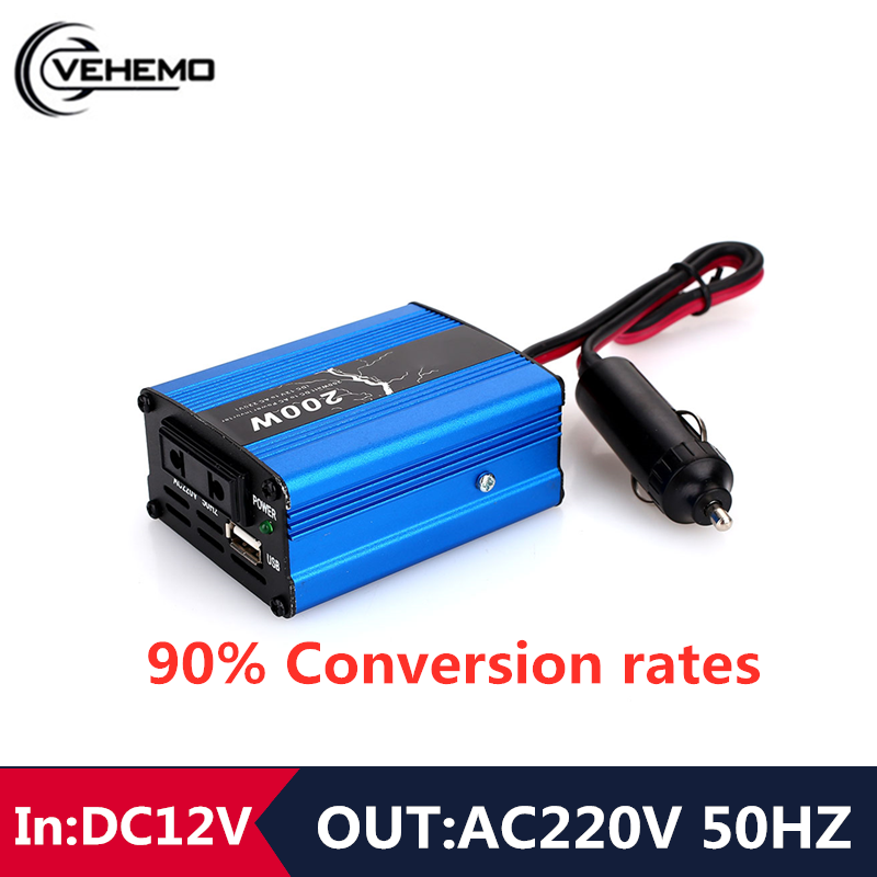 Inverter 12v 220v 300w Adapter Power Supply Modified Converter Car Inverter 200W 50HZ Cars Charger Powers DC5V 500mA (max)