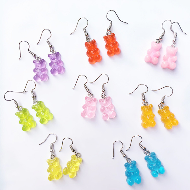 Cute Cartoon Bear Drop Earring Transparency Resin Exquisite Candy  Color Jewelry Accessories Gift Earring For Women Kids