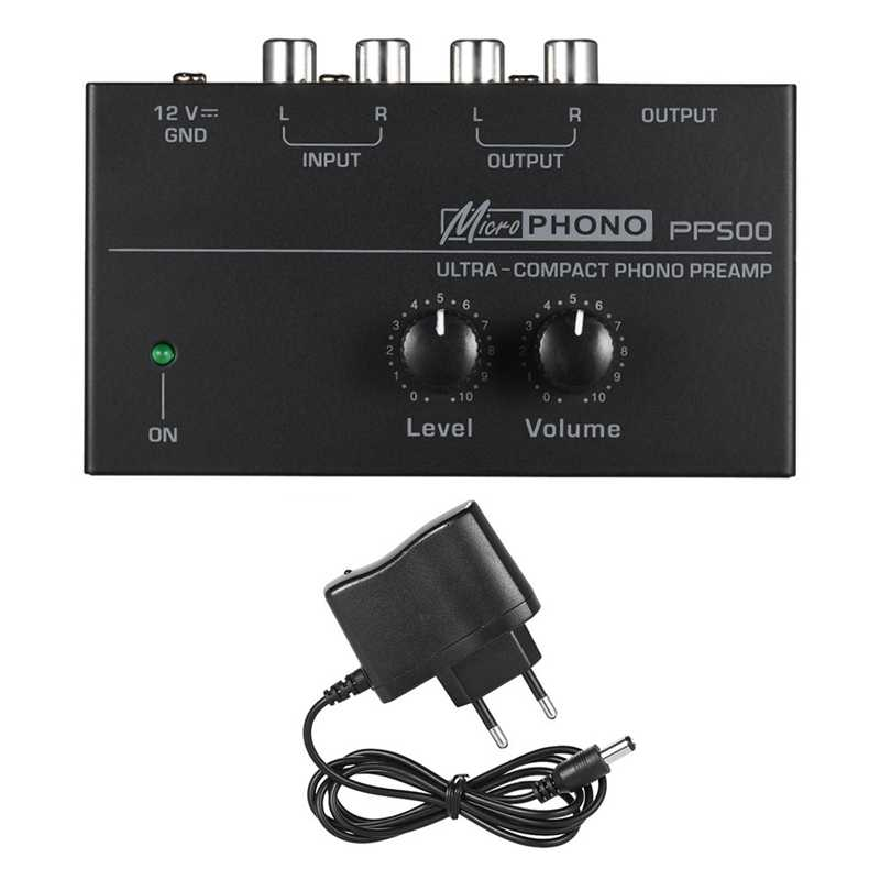 Pp500 Ultra-Compact Phono Preamp Preamplifier dengan Tingkat Volume Kontrol RCA Input & Output 1/4 Inch TRS Output antarmuka, uni Eropa