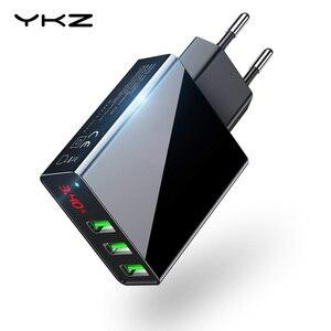 Image 1 - 携帯電話充電器ledディスプレイ3 usb充電器iphoneサムスンxiaomi euトラベル壁の充電器電話充電usbアダプタ