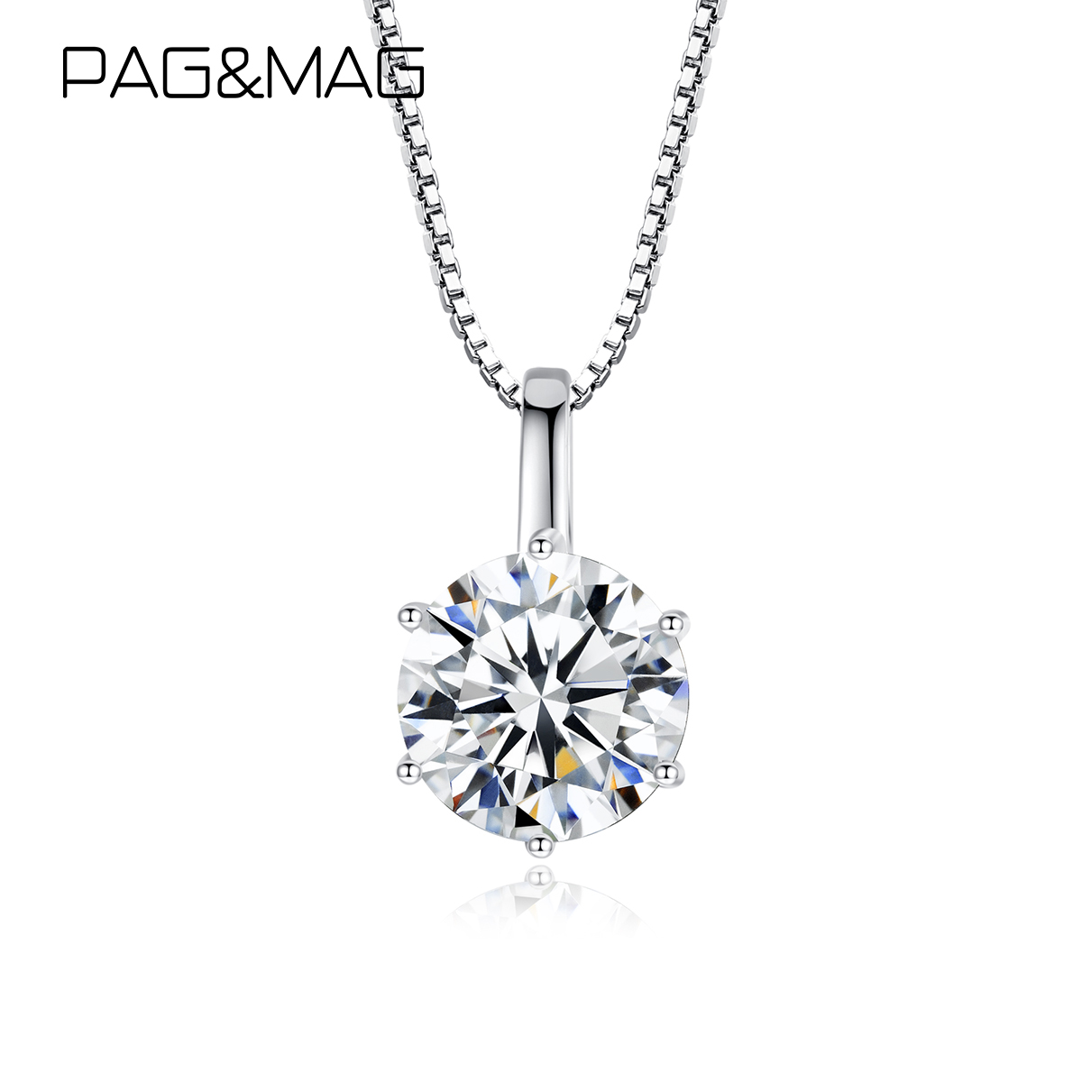 PAG&MAG 1ct 6.5mm EF Round Moissanite 925 Sterling Silver Moissanite Necklace Diamond Test Passed Fine Jewelry Woman Girl Gift