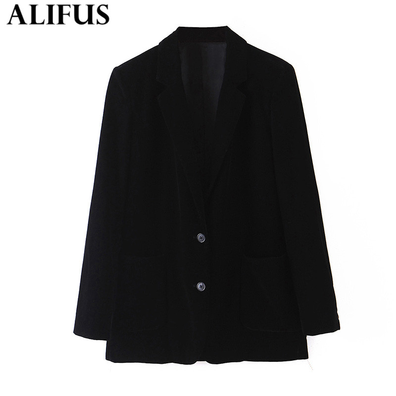 Fashion Za Women 2020 Elegant Solid Office Lady Blazer Coat Long Sleeve Single-breasted Notched Collar Ladies Outerwear Tops