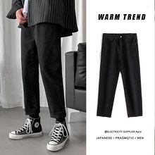 2020 Men's Straight Jeans Spring Festival Korean Fashion Loose Pants Casual Cotton Black Denim Trousers