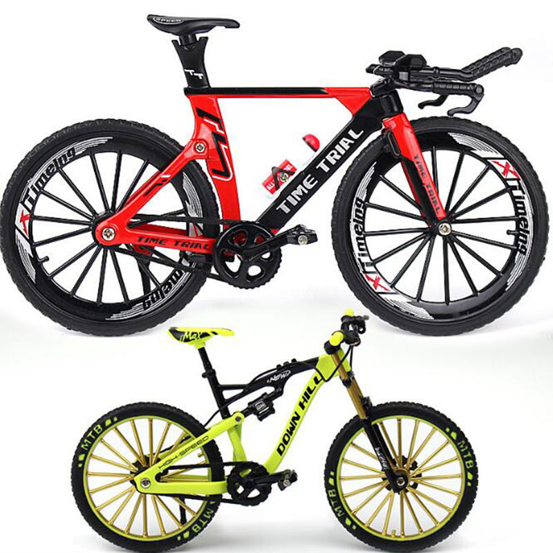 1:10 Scale Metal Diecast Bicycle Mountain Bike Model Toys Curved Racing Cycle Cross Bike Replica Collection For Children's Gift