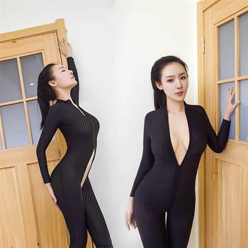 2020 XS-8XL Women Black Striped Sheer Bodysuit Smooth Fiber 2 Zipper Long Sleeve Jumpsuit 2