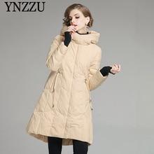 Элегантный зимний женский пуховик новейшая Женская Длинная Верхняя одежда с капюшоном Модное теплое пальто с длинным рукавом YNZZU 9O109 повседневное черное