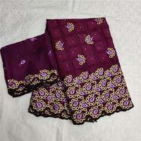 Latest wine wedding/party African cotton lace fabric matching 2Y Swiss voile lace fabric for dress OCV15(5y+2y)