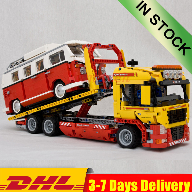 20021 Flatbed Truck Trailer Claw Catcher 21001 T1 Camper Van Car Building Blocks Bricks Kits Toy Compatible Ly 8109 10220 Blocks Aliexpress