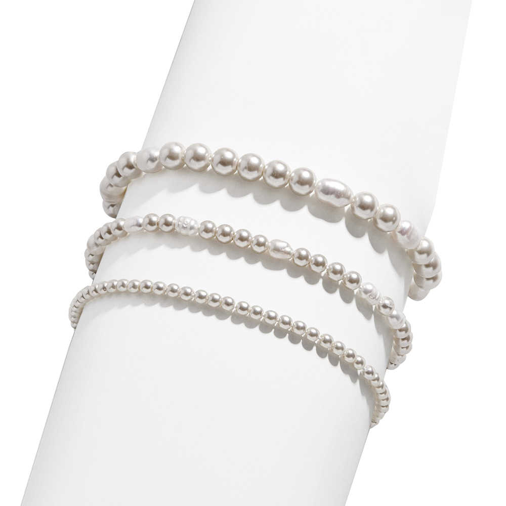 Fashion 3 Layer Thick Thin Pearl Bracelet for Women Charm Bohemian Handmade Elastic Adjustable Pearls Bracelet Jewelry