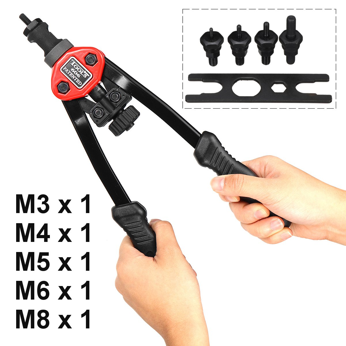 M3-M8 Riveter Tools Set Nut Manual Riveting Kits Riveter Guns Double Handle Pull Nut Rivet Nutsert Insert Accessories Tool