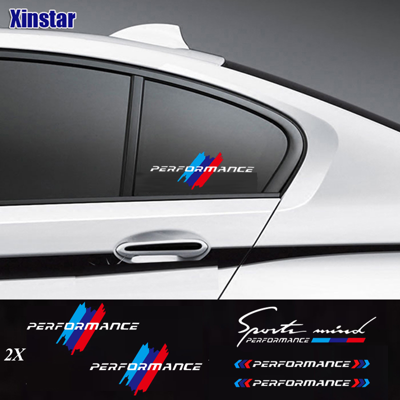 2pcs M Power Performance car windows sticker for bmw E36 E39 E46 E60 E61 E64 E70 E71 E85 E87 E90 E83 F10 F20 F21 F30 E80(China)