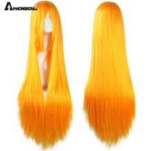 Anogol 80 см Длинные staight косплей парик термостойкие синтетические