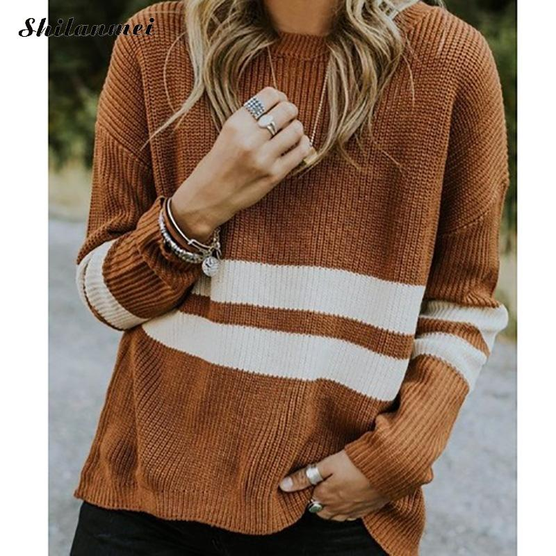 Autumn Winter Knitted Plus Size Pullover Sweater Women O Neck 2019 Fashion Striped Long Sleeve Jumper Pull Femme Fashion Sweater