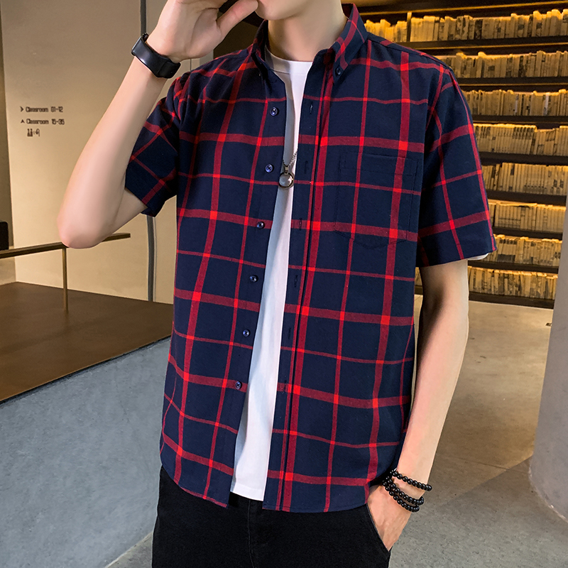 2020 Men's Casual Striped Shirt Men's Summer Style Social Plaid Shirts High Quality Short Sleeve Mens Shirts Factory  Direct