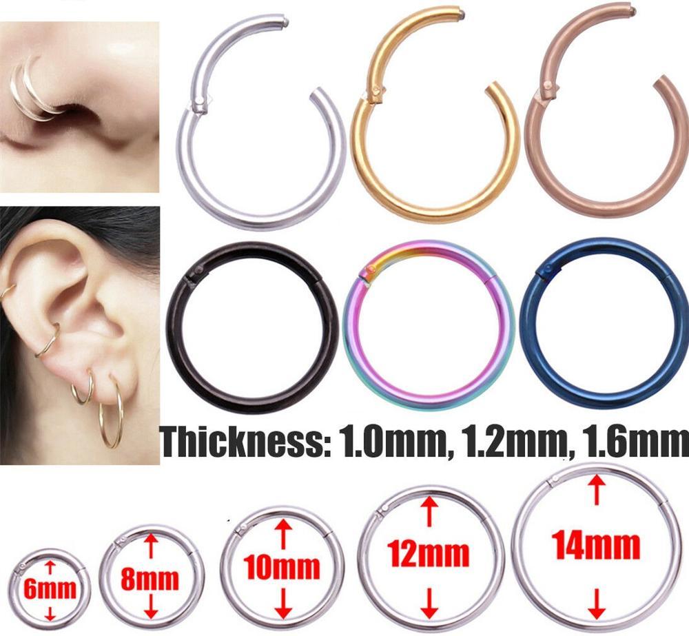 Hinged Septum Rings Clicker Segment Nose Ring Lip Earrings