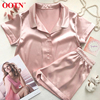 OOTN Two Pieces 2020 Summer Pajamas For Womens Sets Casual Solid Silk Pyjamas Short Sleeve Shirts + Shorts Nighties Sleepwear